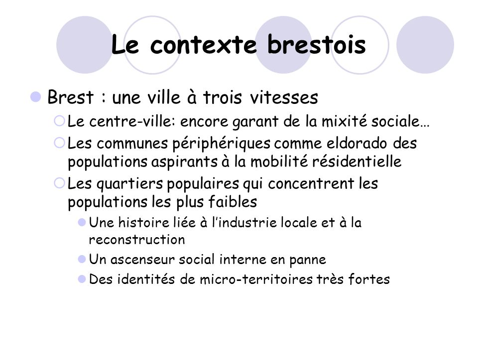 Le contexte brestois Brest : une ville à trois vitesses Le centre-ville: encore garant de la mixité sociale… Les communes périphériques comme eldorado