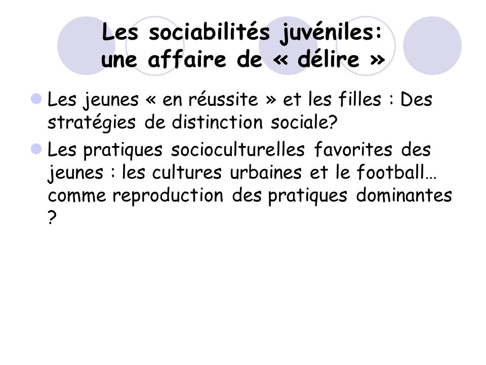 Les sociabilités juvéniles: une affaire de « délire » Les jeunes « en réussite » et les filles : Des stratégies de distinction sociale? Les pratiques