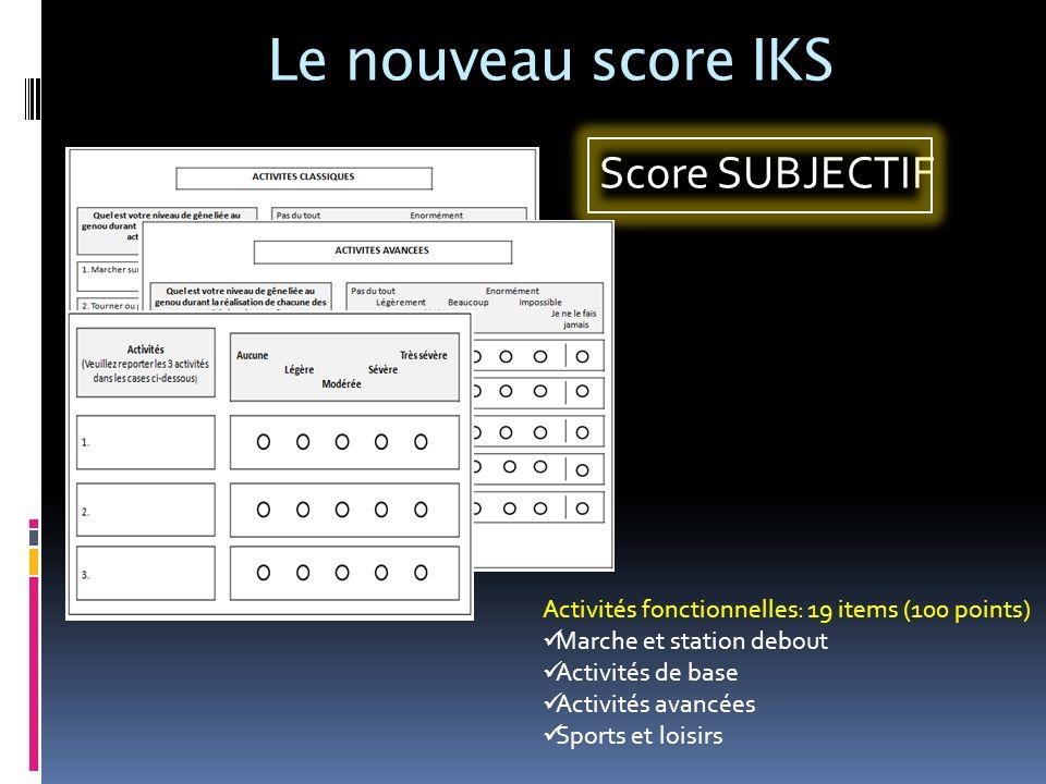 Le nouveau score IKS Score SUBJECTIF Activités fonctionnelles: 19 items (100 points) Marche et station debout Activités de base Activités avancées Spo