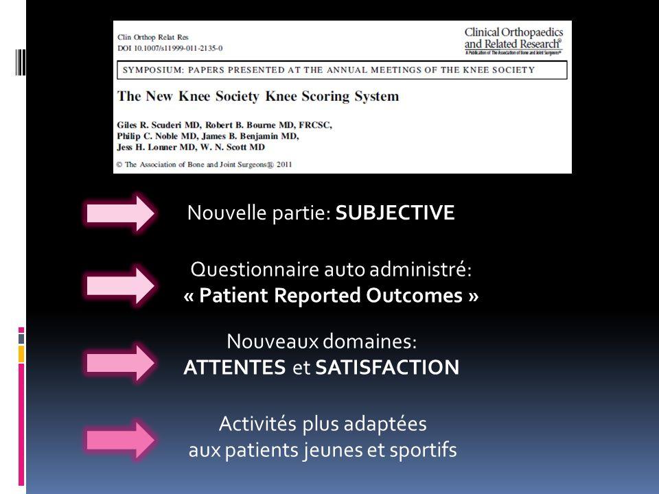 Questionnaire auto administré: « Patient Reported Outcomes » Nouveaux domaines: ATTENTES et SATISFACTION Activités plus adaptées aux patients jeunes e