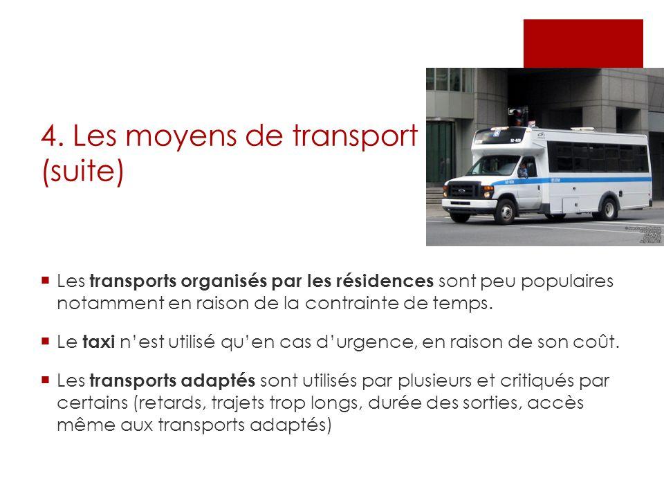 4. Les moyens de transport (suite) Les transports organisés par les résidences sont peu populaires notamment en raison de la contrainte de temps. Le t