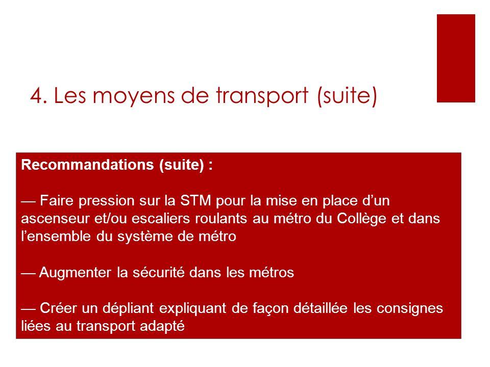 Recommandations (suite) : Faire pression sur la STM pour la mise en place dun ascenseur et/ou escaliers roulants au métro du Collège et dans lensemble