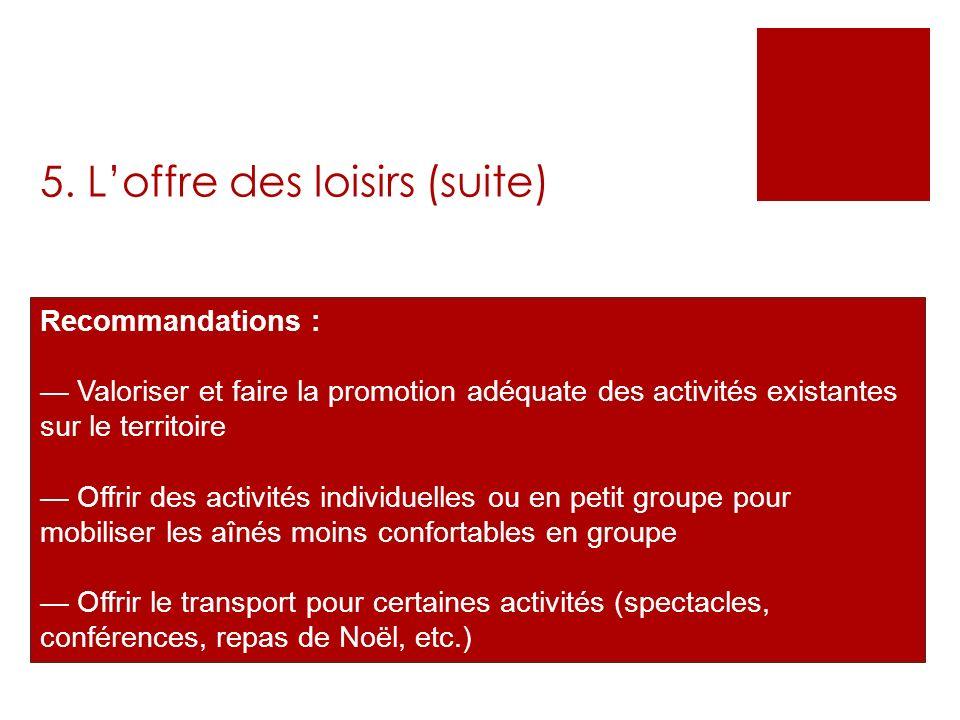 5. Loffre des loisirs (suite) Recommandations : Valoriser et faire la promotion adéquate des activités existantes sur le territoire Offrir des activit