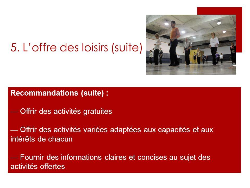 5. Loffre des loisirs (suite) Recommandations (suite) : Offrir des activités gratuites Offrir des activités variées adaptées aux capacités et aux inté
