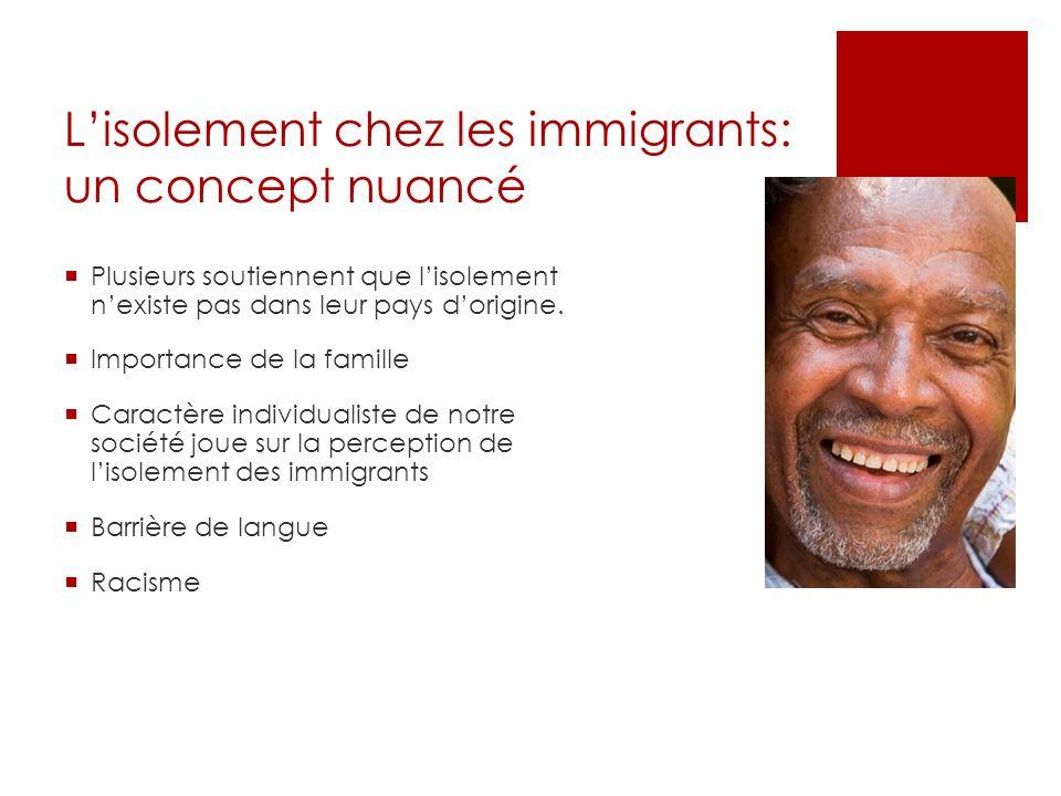 Lisolement chez les immigrants: un concept nuancé Plusieurs soutiennent que lisolement nexiste pas dans leur pays dorigine. Importance de la famille C