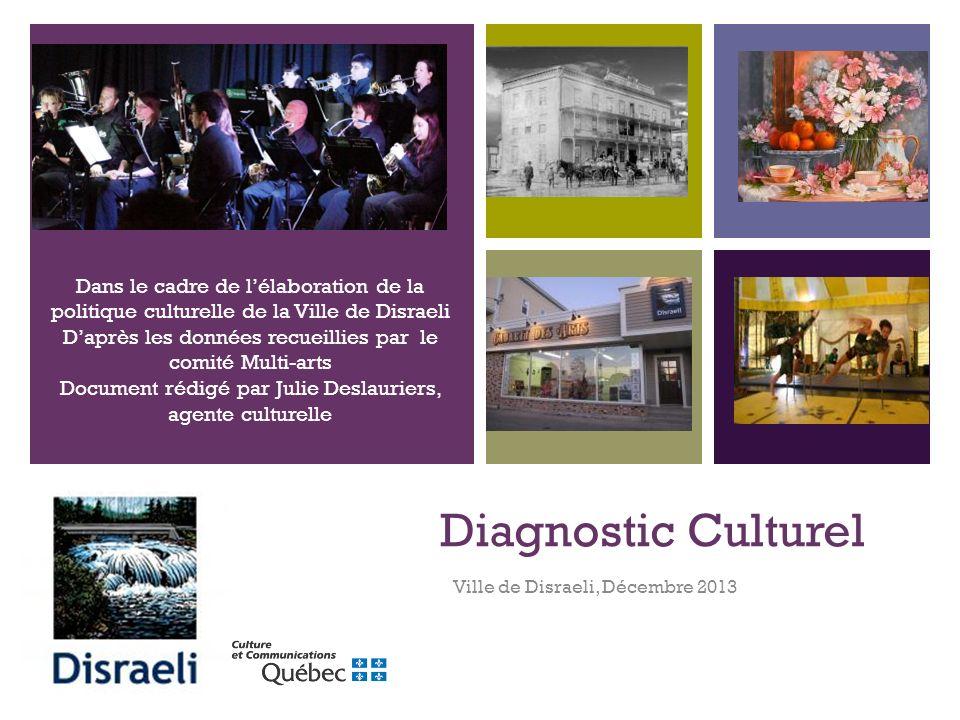 + Diagnostic Culturel Ville de Disraeli, Décembre 2013 Dans le cadre de lélaboration de la politique culturelle de la Ville de Disraeli Daprès les données recueillies par le comité Multi-arts Document rédigé par Julie Deslauriers, agente culturelle