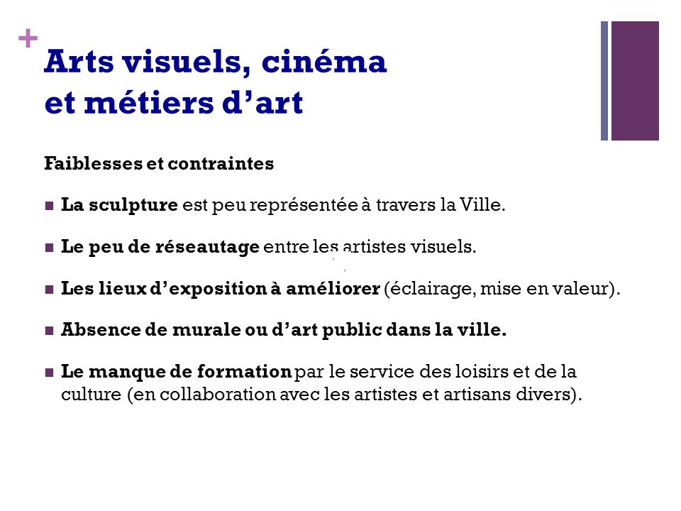 + Arts visuels, cinéma et métiers dart Faiblesses et contraintes La sculpture est peu représentée à travers la Ville.