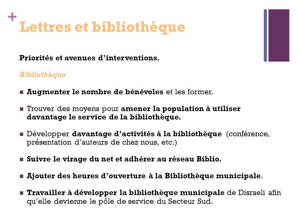 + Lettres et bibliothèque Priorités et avenues dinterventions.