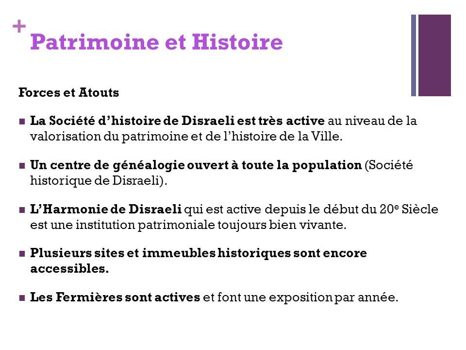 + Patrimoine et Histoire Forces et Atouts La Société dhistoire de Disraeli est très active au niveau de la valorisation du patrimoine et de lhistoire de la Ville.