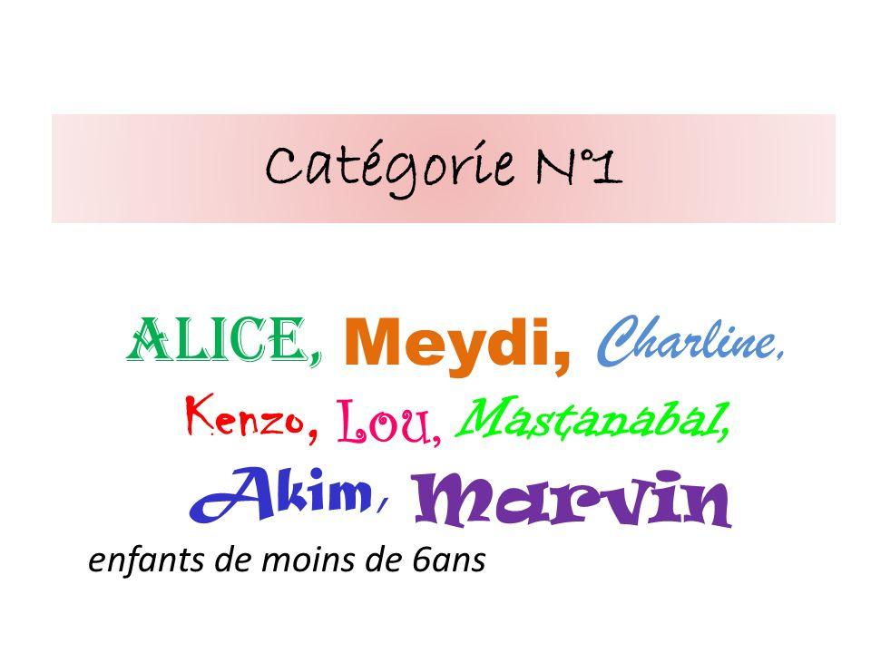 Catégorie N°1 Alice, Meydi, Charline, Kenzo, Lou, Mastanabal, Akim, Marvin enfants de moins de 6ans