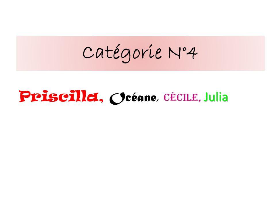 Catégorie N°4 Julia Priscilla, Océane, Cécile, Julia
