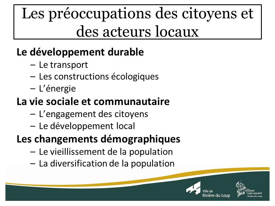 Les préoccupations des citoyens et des acteurs locaux Le développement durable –Le transport –Les constructions écologiques –Lénergie La vie sociale et communautaire –Lengagement des citoyens –Le développement local Les changements démographiques –Le vieillissement de la population –La diversification de la population