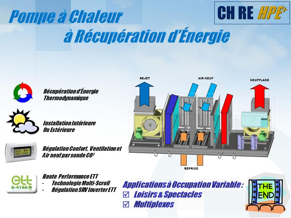 Récupération dÉnergie Thermodynamique Installation Intérieure Ou Extérieure Haute Performance ETT -Technologie Multi-Scroll -Régulation SRV Inverter E