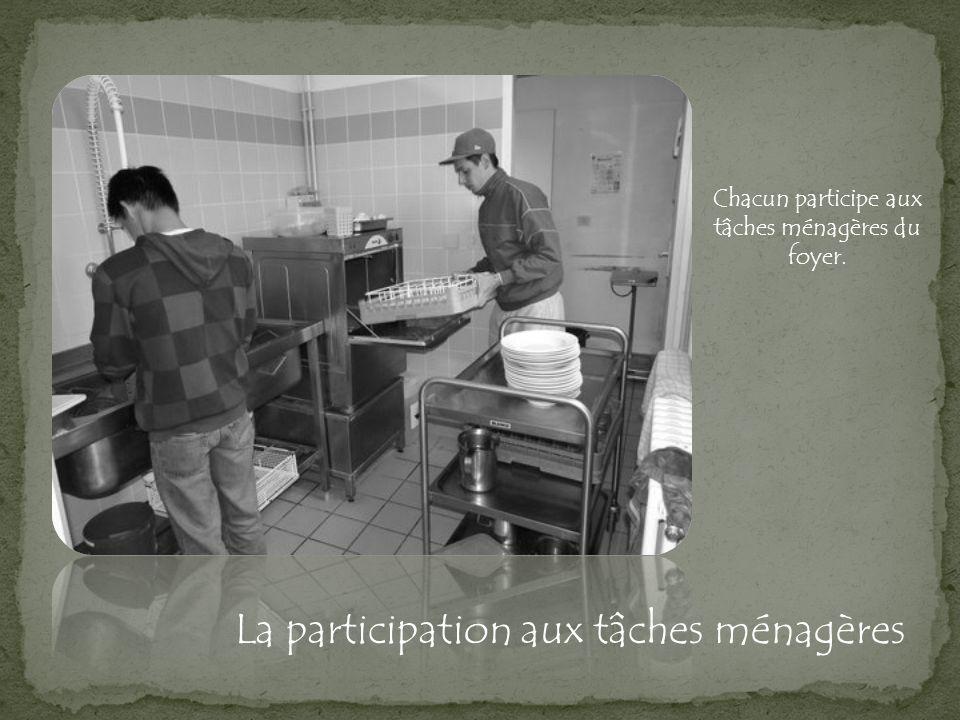 La participation aux tâches ménagères Chacun participe aux tâches ménagères du foyer.