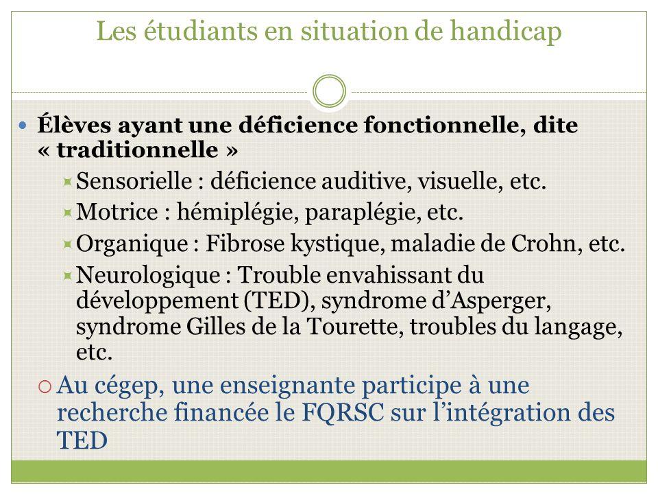 Les étudiants en situation de handicap Élèves ayant une déficience fonctionnelle, dite « traditionnelle » Sensorielle : déficience auditive, visuelle, etc.