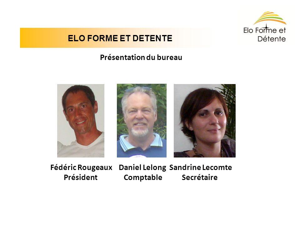 ELO FORME ET DETENTE Présentation du bureau Fédéric Rougeaux Daniel Lelong Sandrine Lecomte Président Comptable Secrétaire