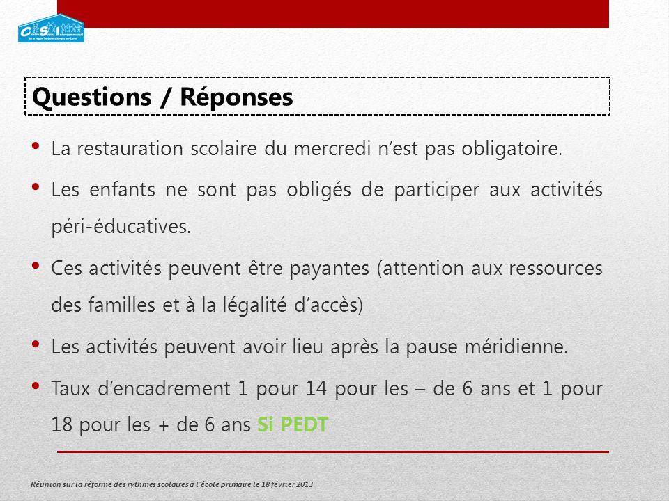 Réunion sur la réforme des rythmes scolaires à lécole primaire le 18 février 2013 La restauration scolaire du mercredi nest pas obligatoire.