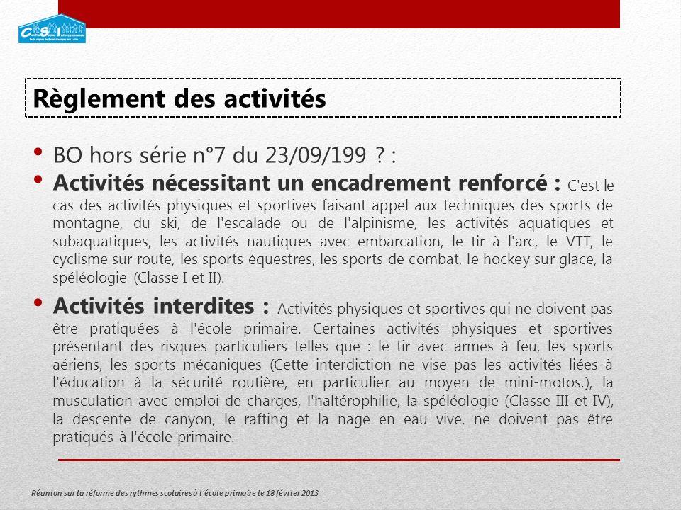 Réunion sur la réforme des rythmes scolaires à lécole primaire le 18 février 2013 BO hors série n°7 du 23/09/199 .
