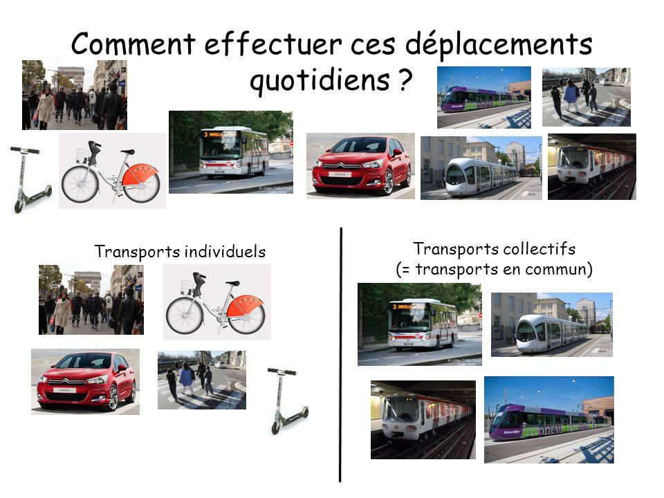 Comment effectuer ces déplacements quotidiens ? Transports individuels Transports collectifs (= transports en commun)