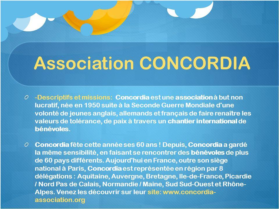 Association CONCORDIA -Descriptifs et missions: Concordia est une association à but non lucratif, née en 1950 suite à la Seconde Guerre Mondiale d'une