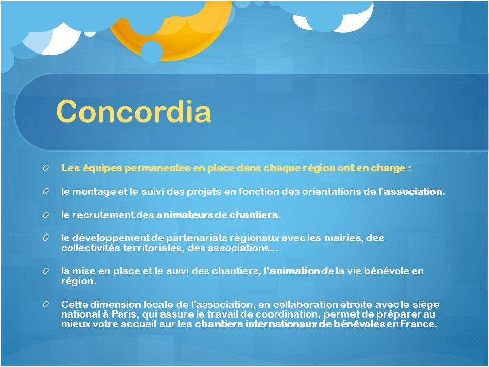 Concordia Les équipes permanentes en place dans chaque région ont en charge : le montage et le suivi des projets en fonction des orientations de l'ass