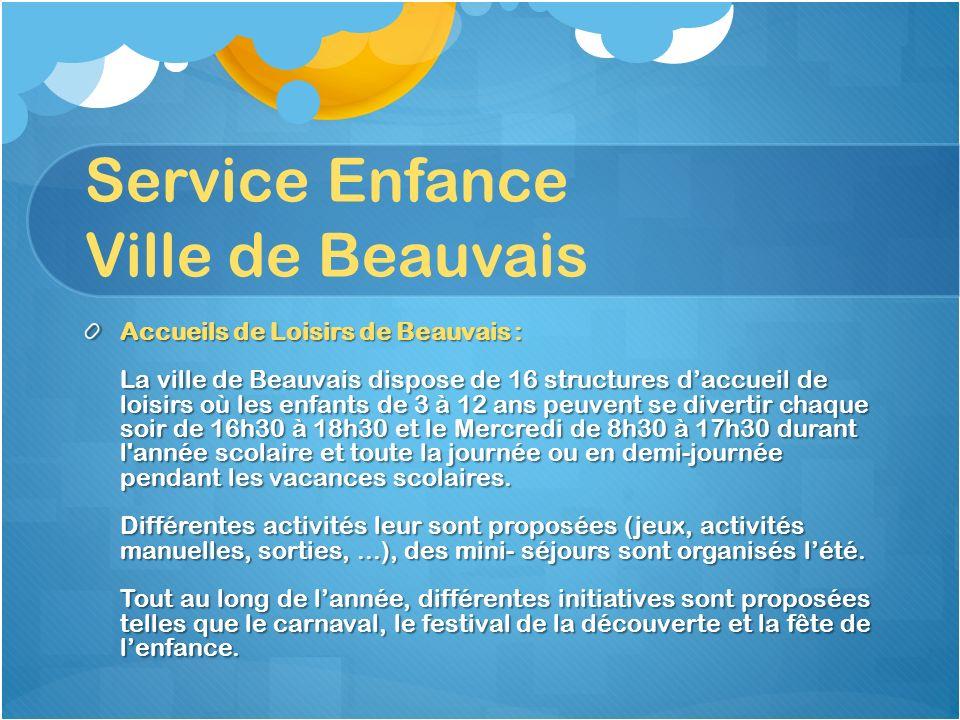 Service Enfance Ville de Beauvais Accueils de Loisirs de Beauvais : La ville de Beauvais dispose de 16 structures daccueil de loisirs où les enfants d