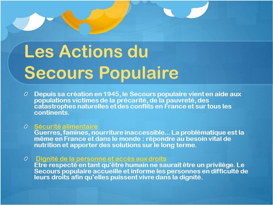 Les Actions du Secours Populaire Depuis sa création en 1945, le Secours populaire vient en aide aux populations victimes de la précarité, de la pauvre