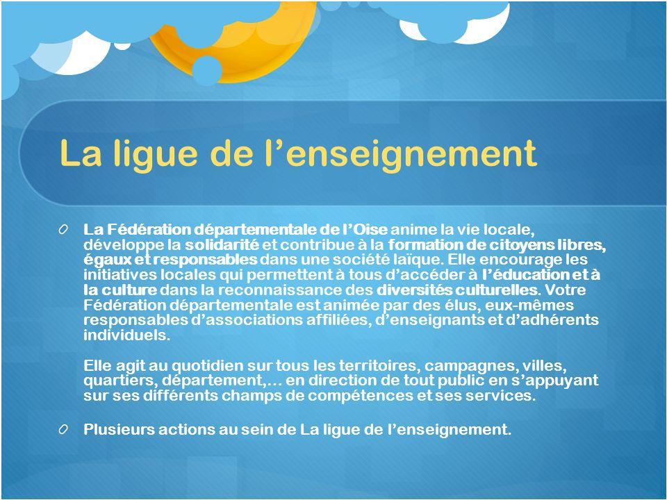 La ligue de lenseignement La Fédération départementale de lOise anime la vie locale, développe la solidarité et contribue à la formation de citoyens l