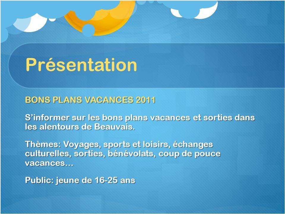 Présentation BONS PLANS VACANCES 2011 Sinformer sur les bons plans vacances et sorties dans les alentours de Beauvais. Thèmes: Voyages, sports et lois