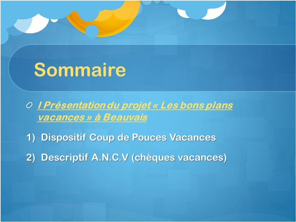 Sommaire I Présentation du projet « Les bons plans vacances » à Beauvais 1)Dispositif Coup de Pouces Vacances 2)Descriptif A.N.C.V (chèques vacances)