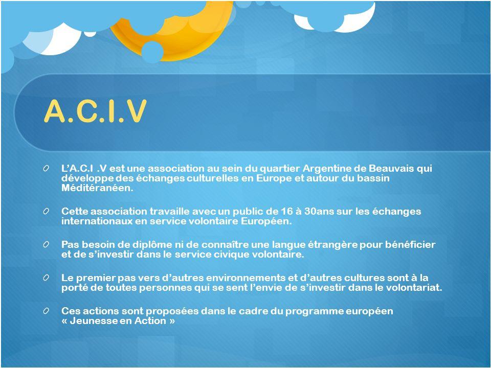 A.C.I.V A.C.I.V : Association Culturelle Internationale de Volontaires 11 rue du Morvan(Espace Morvan) 60000 Beauvais Tél :03.44.02.08.63 Email : acivbeauvais@laposte.netacivbeauvais@laposte.net