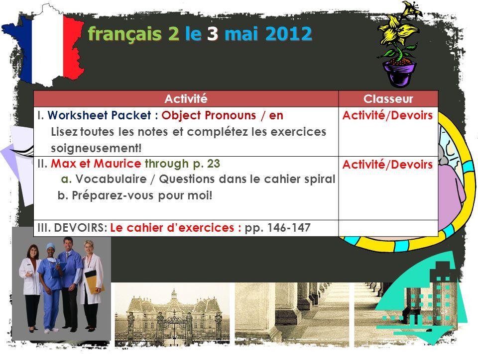 JE FAIS DES ANNONCES! français 2 / 5H / 6AP 1. Programme déchange: Détails en anglais Liste A. Correspondants E-mail Présentez-vous! B. Cohabitation a
