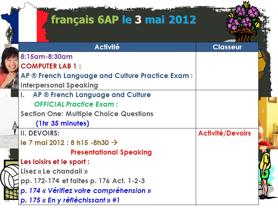 français 6AP le 3 mai 2012 ActivitéClasseur 8:15am-8:30am COMPUTER LAB 1 : AP ® French Language and Culture Practice Exam : Interpersonal Speaking I.AP ® French Language and Culture OFFICIAL Practice Exam : Section One: Multiple Choice Questions (1hr 35 minutes) II.