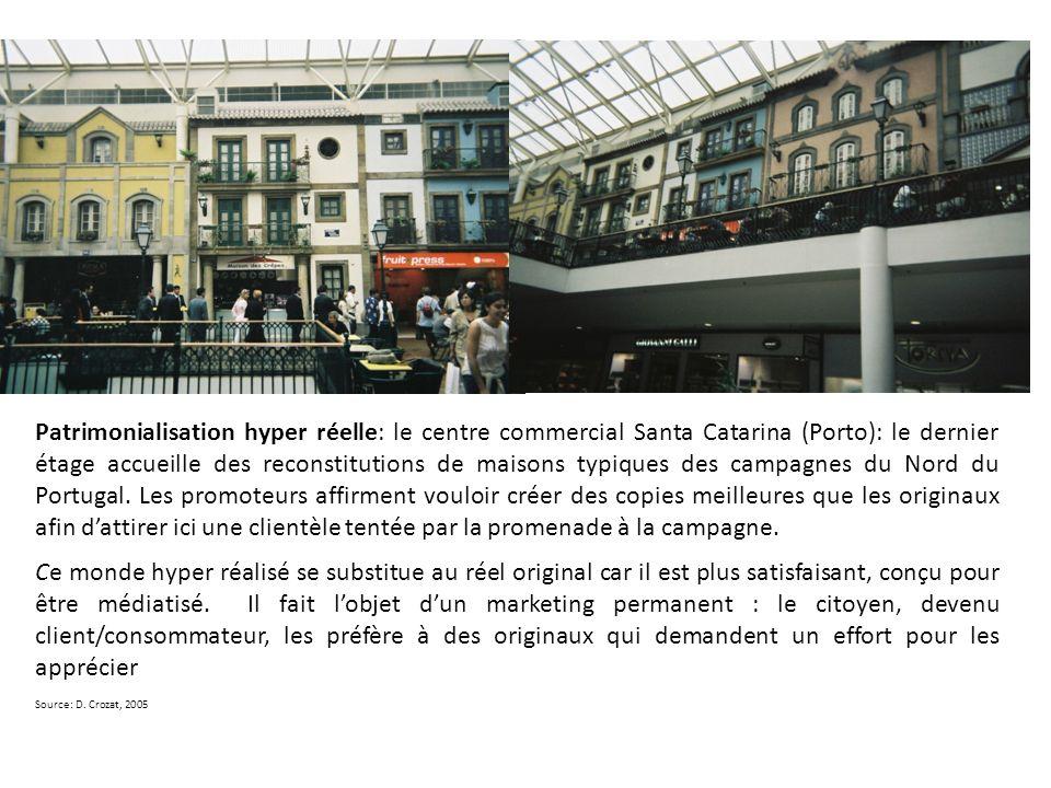 Patrimonialisation hyper réelle: le centre commercial Santa Catarina (Porto): le dernier étage accueille des reconstitutions de maisons typiques des c
