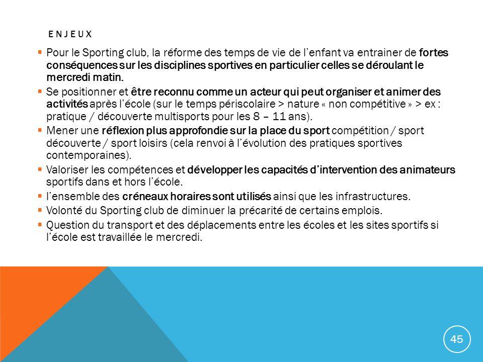 ENJEUX Pour le Sporting club, la réforme des temps de vie de lenfant va entrainer de fortes conséquences sur les disciplines sportives en particulier