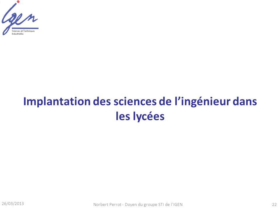 26/03/2013 Norbert Perrot - Doyen du groupe STI de l'IGEN22 Implantation des sciences de lingénieur dans les lycées
