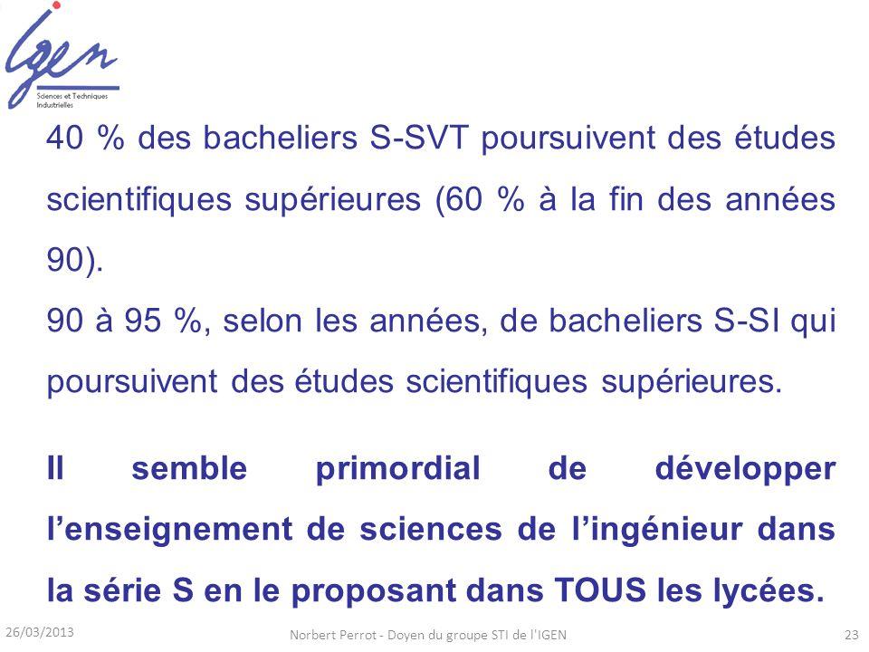 26/03/2013 Norbert Perrot - Doyen du groupe STI de l'IGEN23 40 % des bacheliers S-SVT poursuivent des études scientifiques supérieures (60 % à la fin