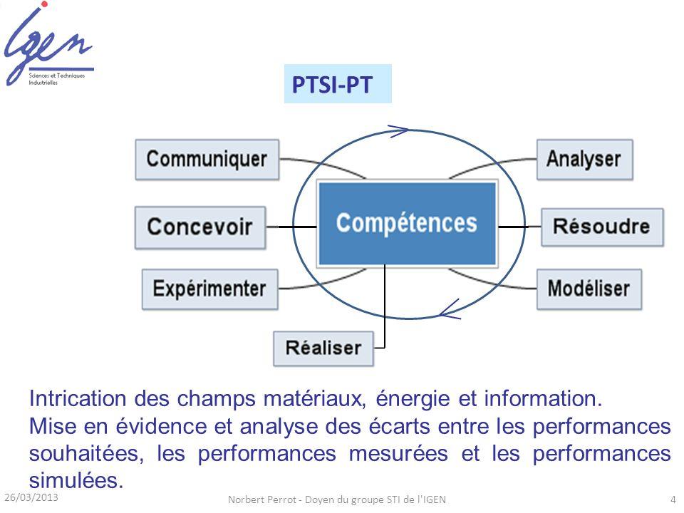 26/03/2013 Norbert Perrot - Doyen du groupe STI de l'IGEN4 Série S PCSI-PSI PTSI-PT Intrication des champs matériaux, énergie et information. Mise en