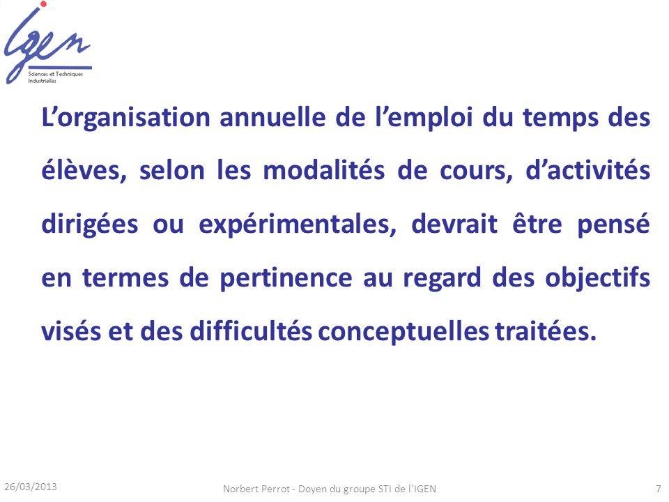 26/03/2013 Norbert Perrot - Doyen du groupe STI de l IGEN8 Projet interdisciplinaire