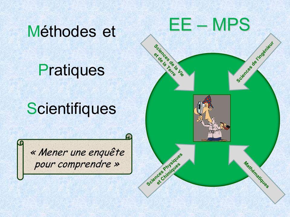 Méthodes et Pratiques Scientifiques EE – MPS « Mener une enquête pour comprendre » Sciences de la Vie et de la Terre Sciences de lingénieur Mathématiq