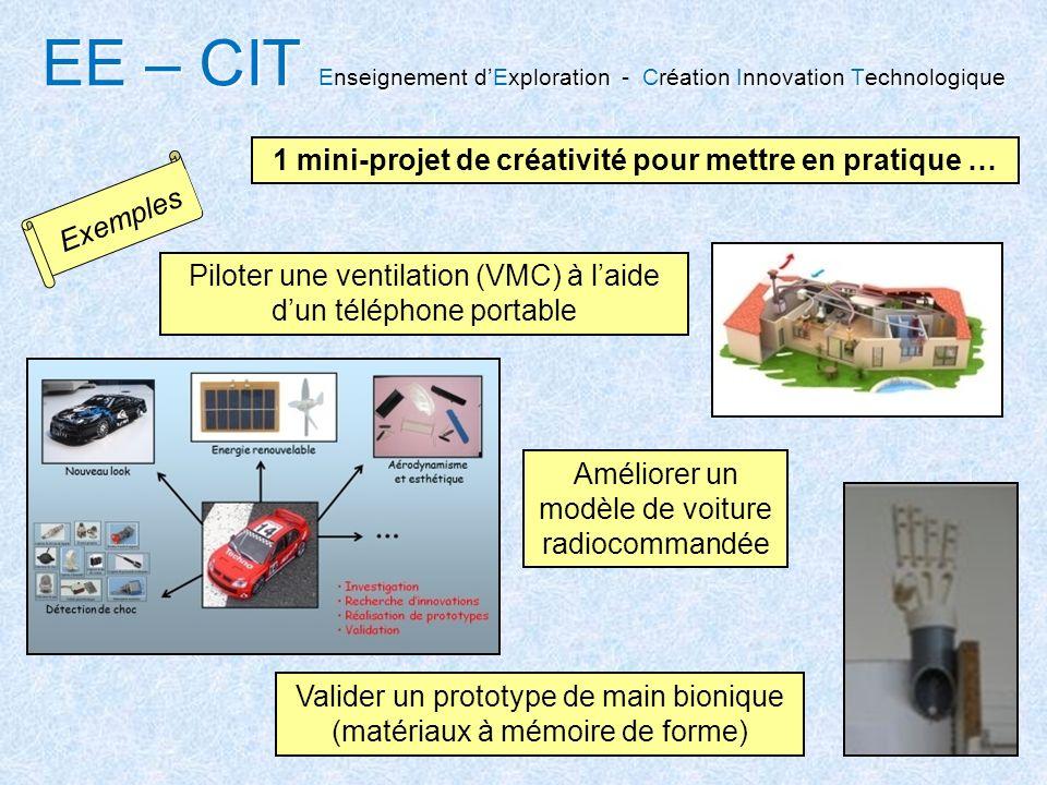Valider un prototype de main bionique (matériaux à mémoire de forme) Piloter une ventilation (VMC) à laide dun téléphone portable Améliorer un modèle