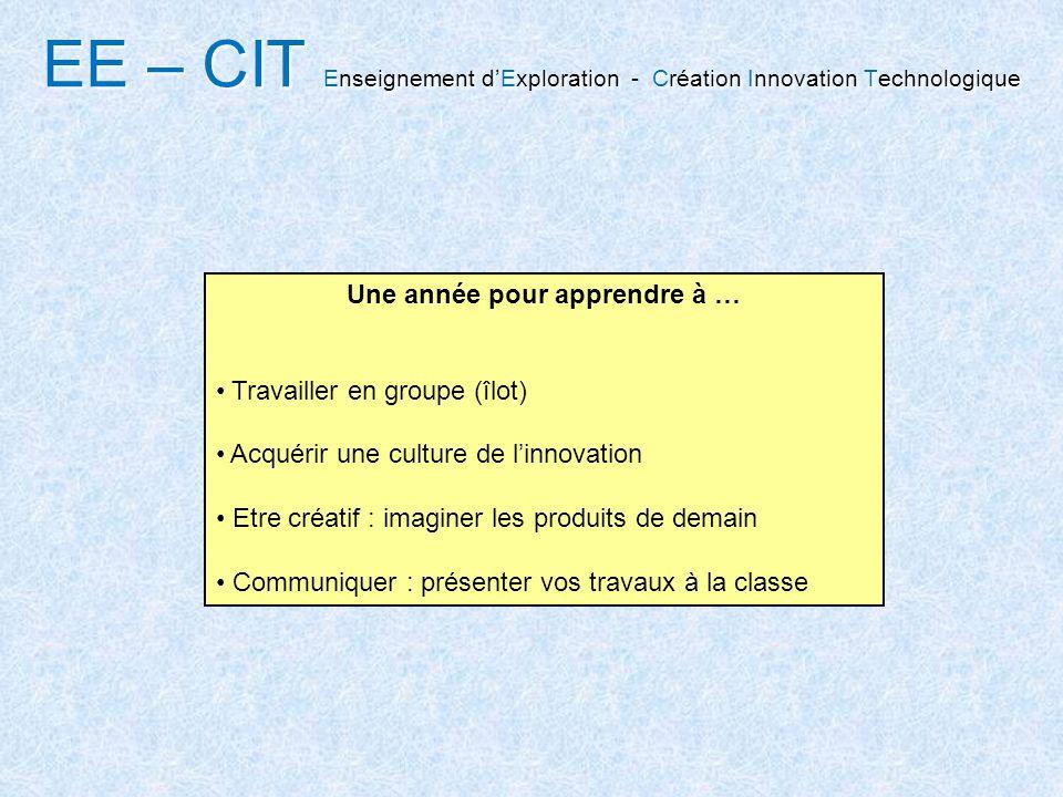 EE – CIT Enseignement dExploration Création Innovation Technologique EE – CIT Enseignement dExploration - Création Innovation Technologique Une année