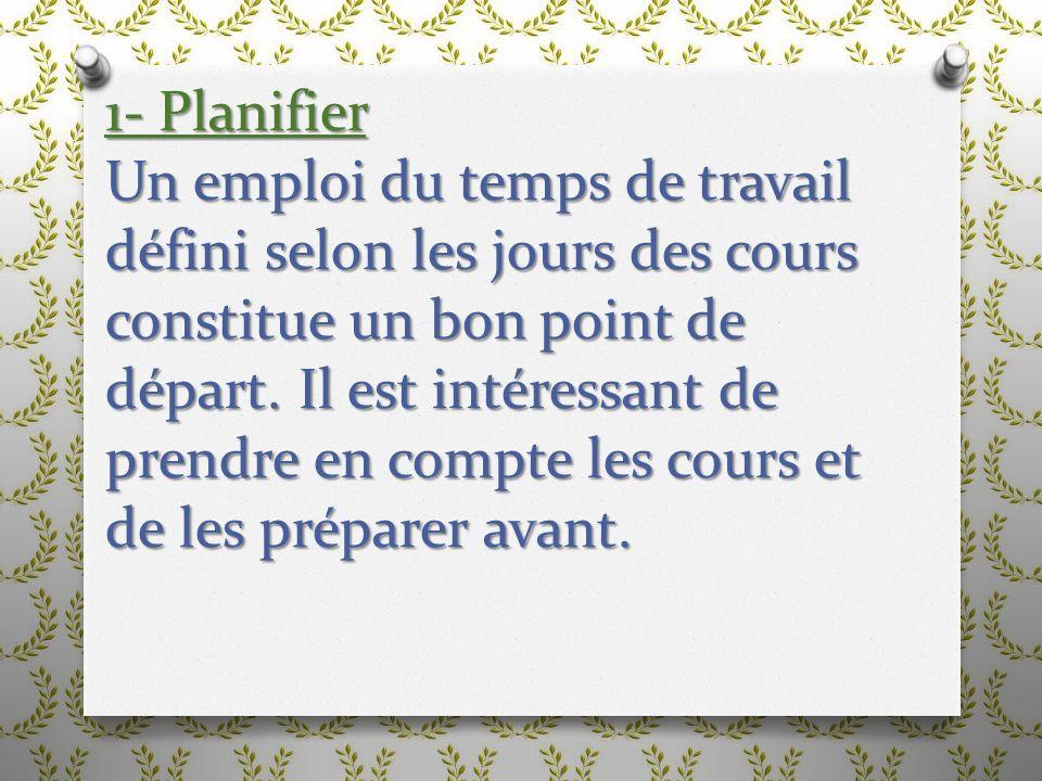 1- Planifier Un emploi du temps de travail défini selon les jours des cours constitue un bon point de départ.