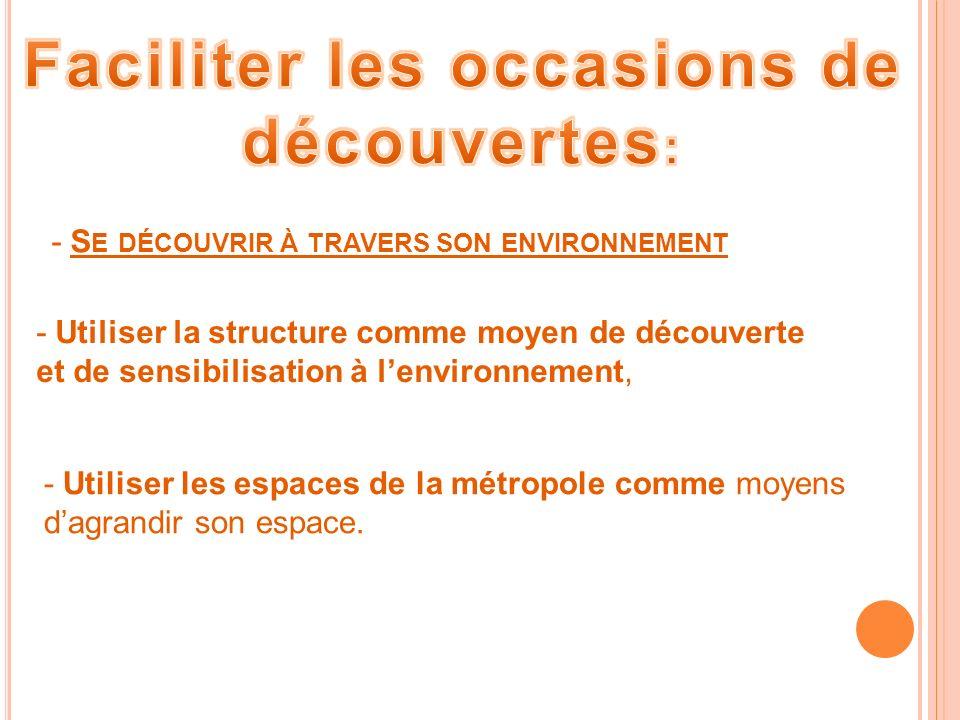 - S E DÉCOUVRIR À TRAVERS SON ENVIRONNEMENT - Utiliser la structure comme moyen de découverte et de sensibilisation à lenvironnement, - Utiliser les espaces de la métropole comme moyens dagrandir son espace.