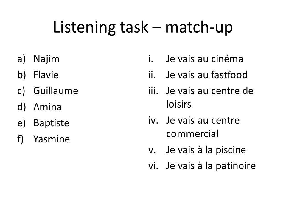 Listening task – match-up a)Najim b)Flavie c)Guillaume d)Amina e)Baptiste f)Yasmine i.Je vais au cinéma ii.Je vais au fastfood iii.Je vais au centre de loisirs iv.Je vais au centre commercial v.Je vais à la piscine vi.Je vais à la patinoire