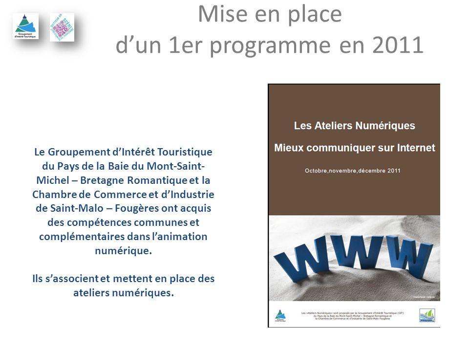 Mise en place dun 1er programme en 2011 Le Groupement dIntérêt Touristique du Pays de la Baie du Mont-Saint- Michel – Bretagne Romantique et la Chambre de Commerce et dIndustrie de Saint-Malo – Fougères ont acquis des compétences communes et complémentaires dans lanimation numérique.