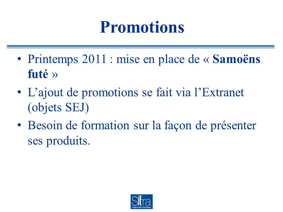 Promotions Printemps 2011 : mise en place de « Samoëns futé » Lajout de promotions se fait via lExtranet (objets SEJ) Besoin de formation sur la façon de présenter ses produits.