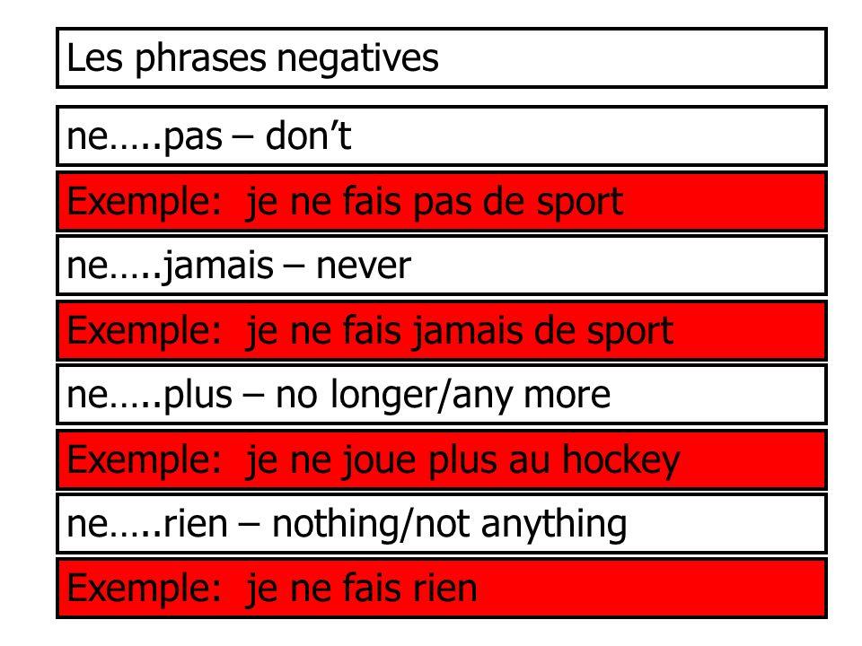 Les phrases negatives ne…..pas – dont Exemple: je ne fais pas de sport ne…..jamais – never Exemple: je ne fais jamais de sport ne…..plus – no longer/a
