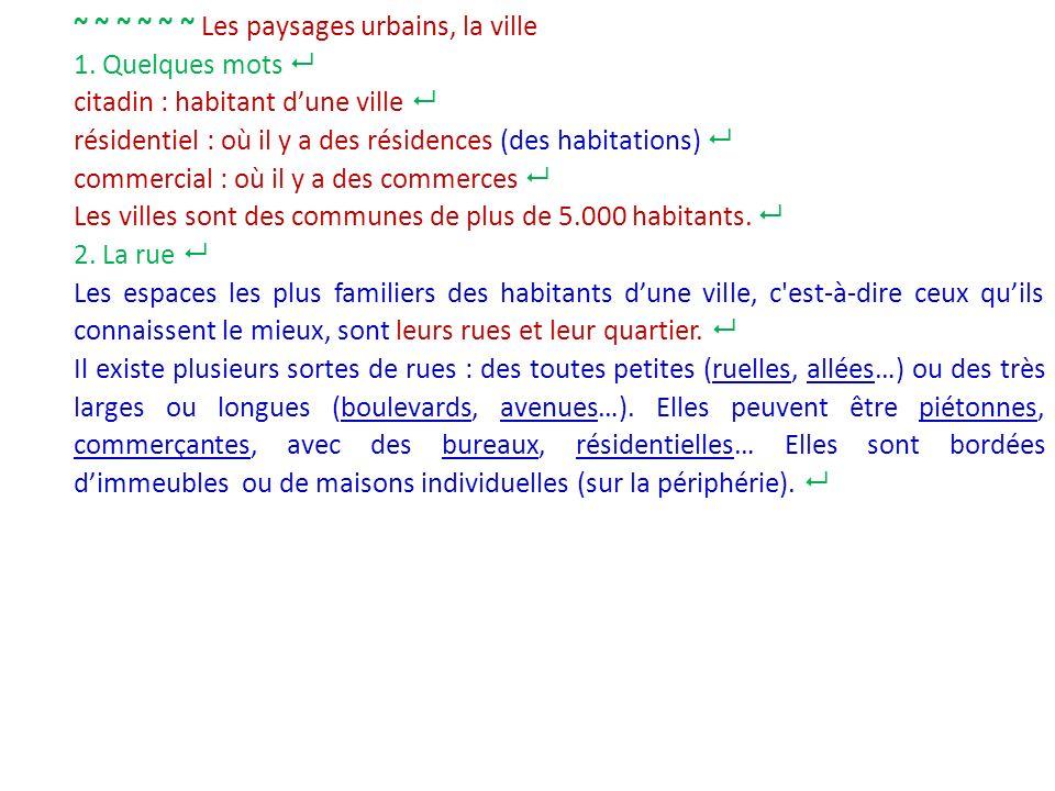 ~ ~ ~ ~ ~ ~ Les paysages urbains, la ville 1. Quelques mots citadin : habitant dune ville résidentiel : où il y a des résidences (des habitations) com