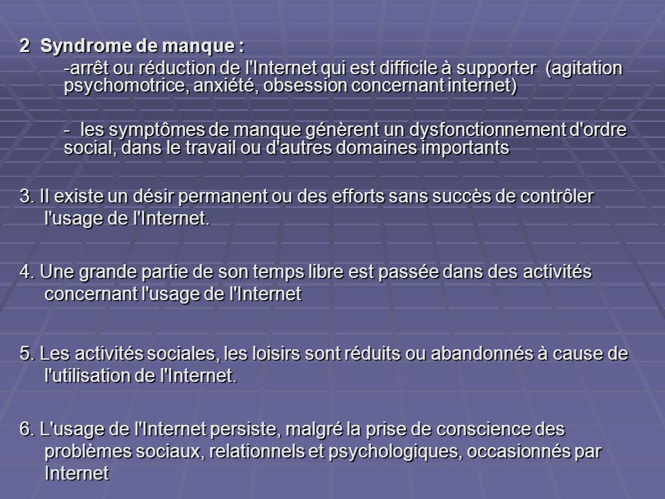 2 Syndrome de manque : -arrêt ou réduction de l'Internet qui est difficile à supporter (agitation psychomotrice, anxiété, obsession concernant interne